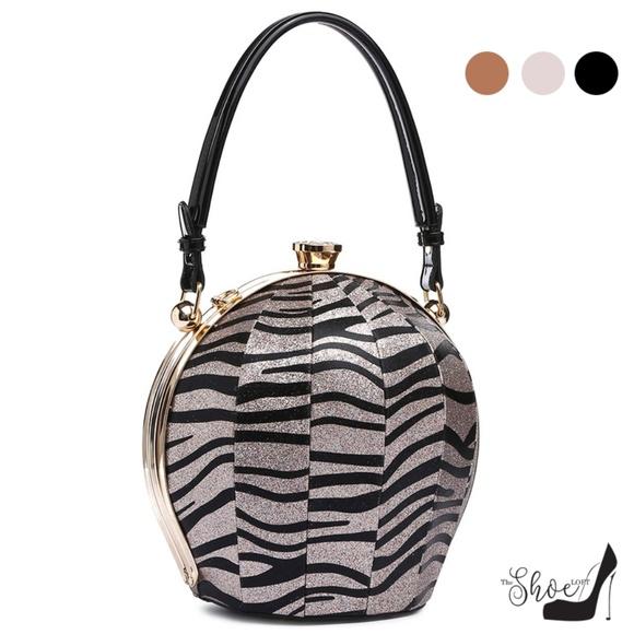 My Bag Lady Online Handbags - Ball Shaped Satchel in Zebra Sparkle